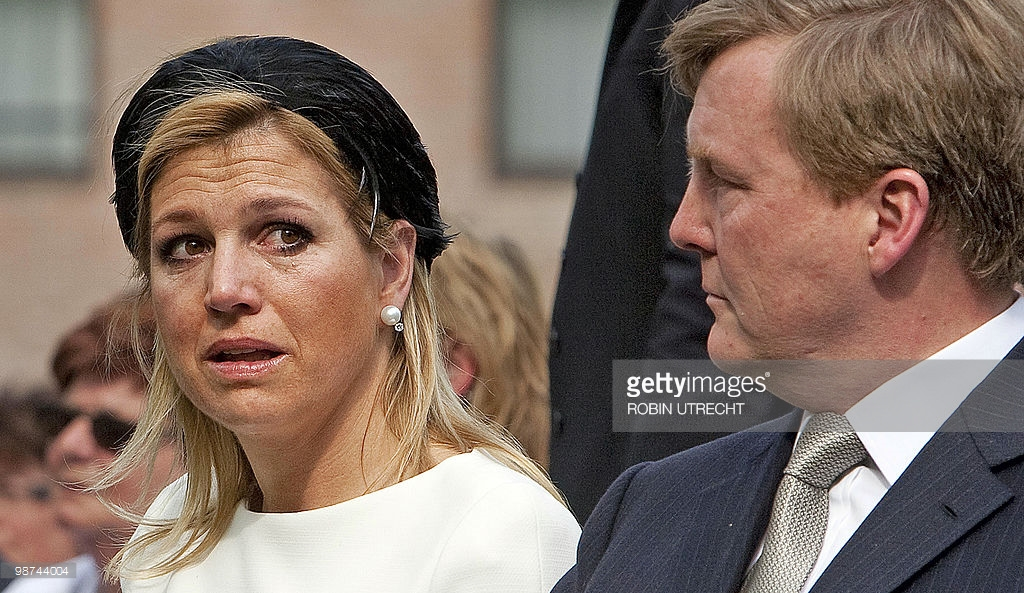 Dutch Princess Maxima cries next Dutch Prince Willem-Alexander as they attend on April 29 Photo (C) GETTY
