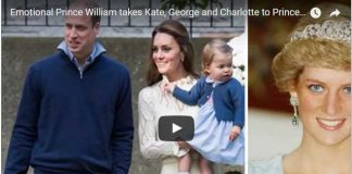 Emotional Prince William takes Kate, George and Charlotte to Princess Diana's grave