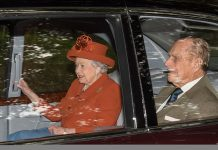 Following behind was Her Majesty the Queen who was accompanied by the Duke of Edinburgh this morning