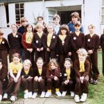 Kate pictured back row second from left Pippa front row centre with her hair tied back and hands on knees and Isobel middle row far left