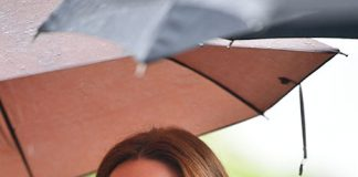 Kate protected her hair from the rain Photo (C) GETTY IMAGES
