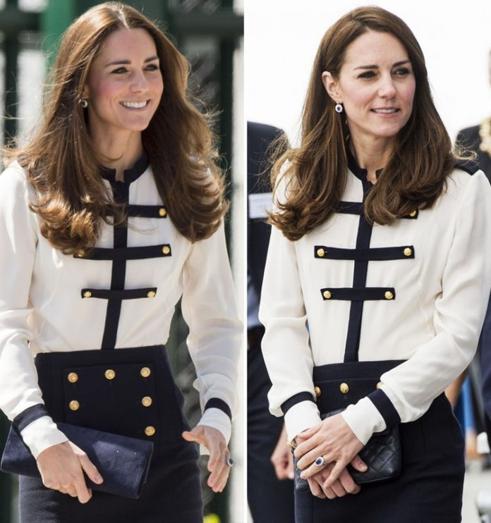 Kate wearing a recycled outfit. (Photo Credit Getty Images)