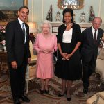 Michelle Obama famously breached protocol in 2009 when she put her arm around the monarch Photo C GETTY IMAGES