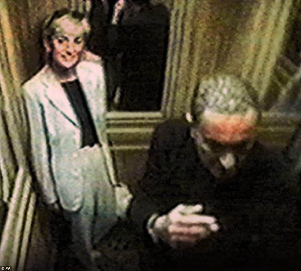Pictured on CCTV footage, a smiling Diana stands inside a lift at The Ritz at 4.35pm on Saturday 30 August
