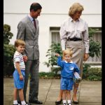 Prince Charles Princess Diana and Prince William accompanying Prince Harry on his first day at Mrs. Mynors nursery school London. 16th September 1987 Photo C GETTY