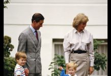 Prince Charles, Princess Diana and Prince William accompanying Prince Harry on his first day at Mrs. Mynor's nursery school, London. 16th September 1987 Photo (C) GETTY