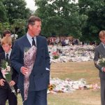 Prince Charles and sons Princes William and Harry place floral tributes to their mother Diana Princess of Wales at Kensington Palace her former London residence in 1997. Photo C GETTY