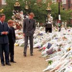 Prince Charles and sons Princes William and Harry take in the sea of floral tributes to their mother Diana Princess of Wales at Kensington Palace her former London residence in 1997. Photo C GETTY