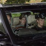 Prince Edward was behind the wheel to drive his wife Sophie and daughter Lady Louise to church