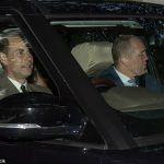 Prince Edward who was joined by Mike Tindall were not far behind seen sharing a joke as Edward drove them to Crathie Kirk