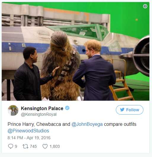 Prince Harry, Chewbacca and @JohnBoyega compare outfits @PinewoodStudios Photo (C) TWITTER