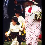 Prince Harry enjoys his role as a pageboy as he arrives with Diana Princess of Wales at the wedding of his uncle Viscount Althorp to Victoria Lockwood on September 17 1989