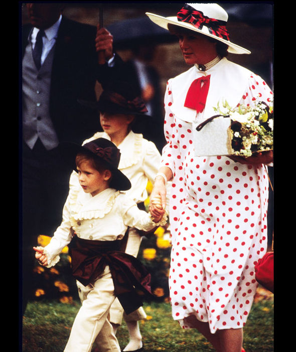 Prince Harry enjoys his role as a pageboy as he arrives with Diana, Princess of Wales, at the wedding of his uncle, Viscount Althorp to Victoria Lockwood on September 17, 1989 Photo (C) GETTY IMAGES