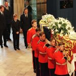 Prince William Earl Spencer Prince Harry and Prince Charles follow the coffin of Diana Princess of Wales into Westminster Abbey