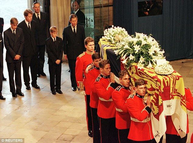 Prince William, Earl Spencer, Prince Harry and Prince Charles follow the coffin of Diana, Princess of Wales, into Westminster Abbey