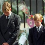Prince William and Harry bow during Dianas funeral Photo C PA