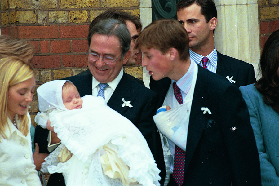 Prince William attends the christening of his godson Prince Constantine Alexios. Photo (C) REX