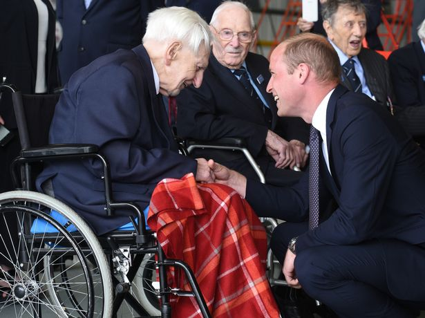 Prince William chats to veteran Ken Wilkinson last month at RAF Coningsby (Image Anna Draper)