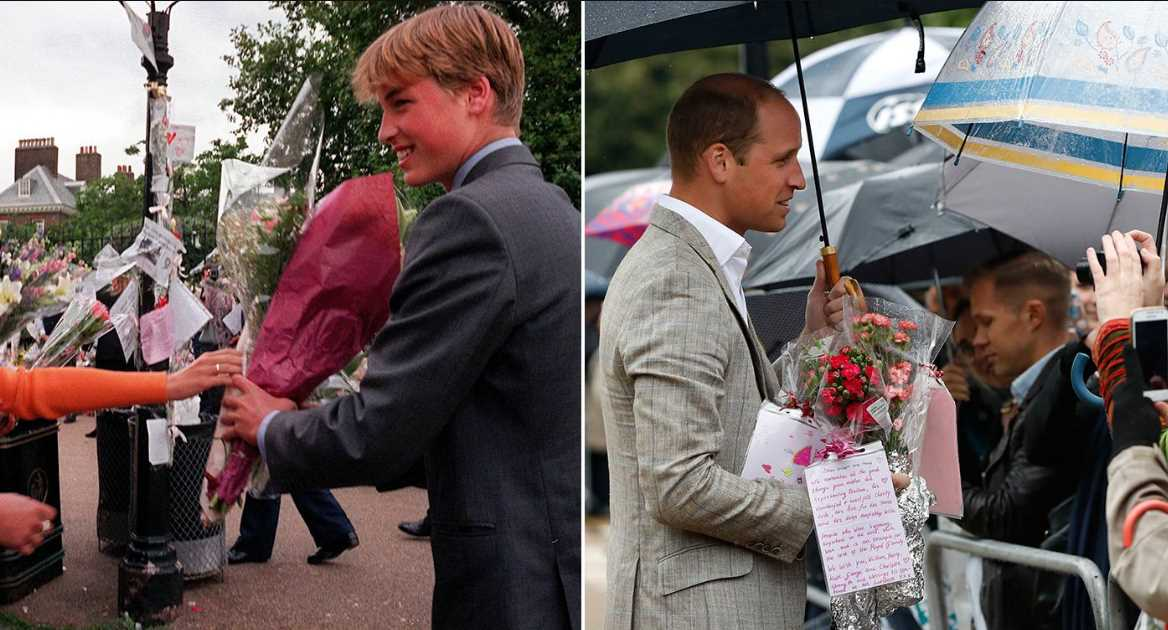 Prince William meets well-wishers in 1997 (left) and 20 years later (Picture PA REX)
