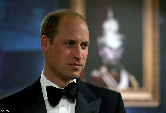 Prince William, pictured at a reception last week, has discussed his mother's bulimia on camera for the first time, saying he was proud of her for speaking about it publicly