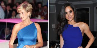 Princess Diana and Meghan Markle Both women have worn one shoulder blue tops Photo (C) GETTY IMAGES