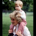 Princess Diana carries Prince Harry on her shoulders at Highgrove. Photo C GETTY