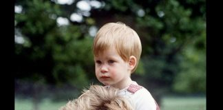 Princess Diana carries Prince Harry on her shoulders at Highgrove. Photo (C) GETTY