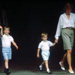 Princess Diana holds Prince Harrys hand as Prince William walks alongside Image PA Wire