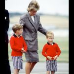 Princess Diana with her sons Prince William and Prince Harry at Aberdeen airport. August 14 1989 Photo C GETTY