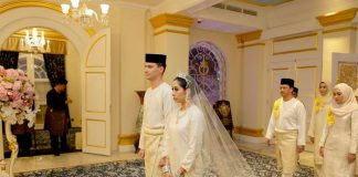 Princess Tunku Tun Aminah Maimunah Iskandariah and Dennis Muhammad Abdullah born Dennis Verbaas were married on August 14 2017 Photo C Facebook The Royal Johor