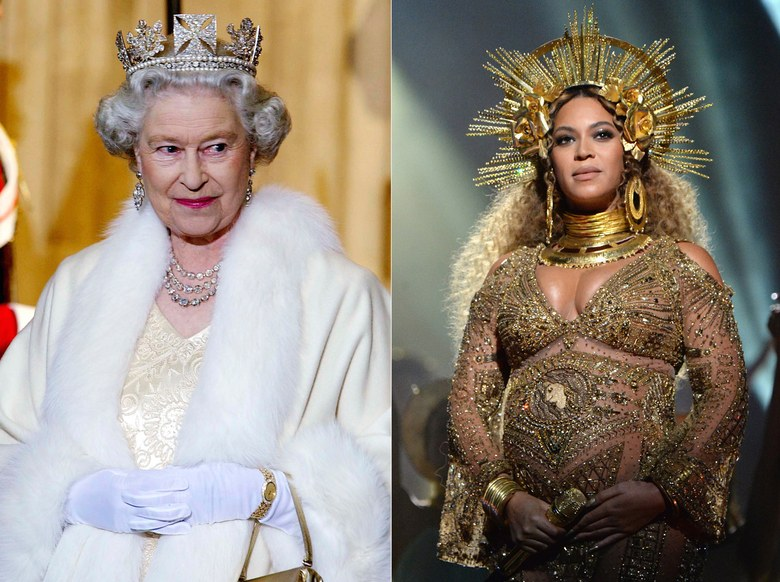 Queen Elizabeth and Queen B. Photo (C) GETTY IMAGES