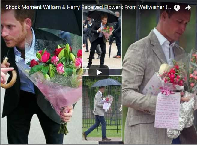 Shock Moments William Harry Received from Fans Prince William and Prince Harry Dianas Makeshift Shrine Flowers Kensington Palace Shocking Moment