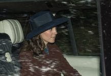 The Duchess of Cambridge joined Prince William for the short journey to the Crathie Kirk chapel, a stone's throw away from Balmoral, yesterday morning