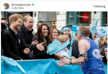 The Duke and Duchess of Cambridge and Prince Harry support runners at the @Heads_Together cheering point near