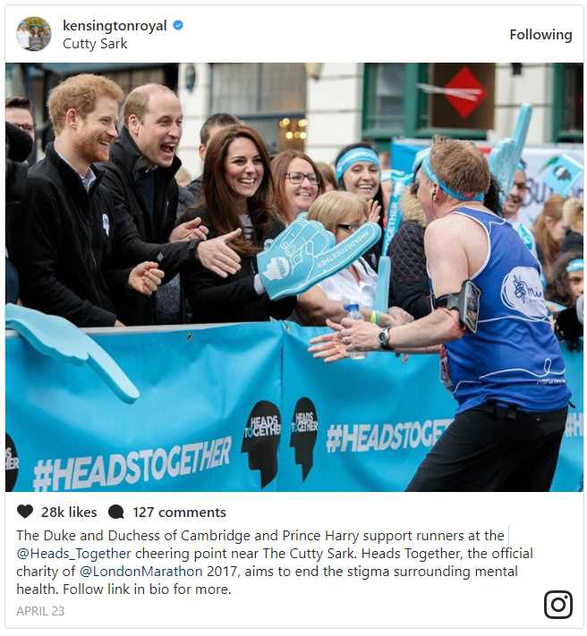 The Duke and Duchess of Cambridge and Prince Harry support runners at the @Heads Together cheering point near