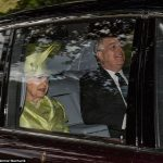 The Queen looked resplendent in green as she was drive to church with Prince Andrew at Balmoral