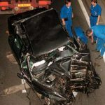 The mangled wreck of Princess Diana and Dodis Mercedes S280