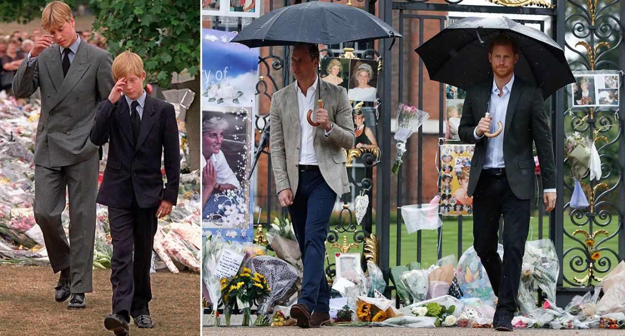 The pictures that show Harry and William at Diana memorial 20 years apart Photo (C) PA, REX