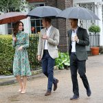 The trio walked around the gardens at Kensington Palace Photo C GETTY IMAGES