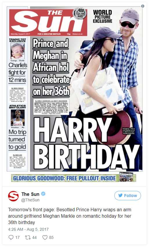 Tomorrow's front page Besotted Prince Harry wraps an arm around girlfriend Meghan Markle on romantic holiday for her 36th birthday