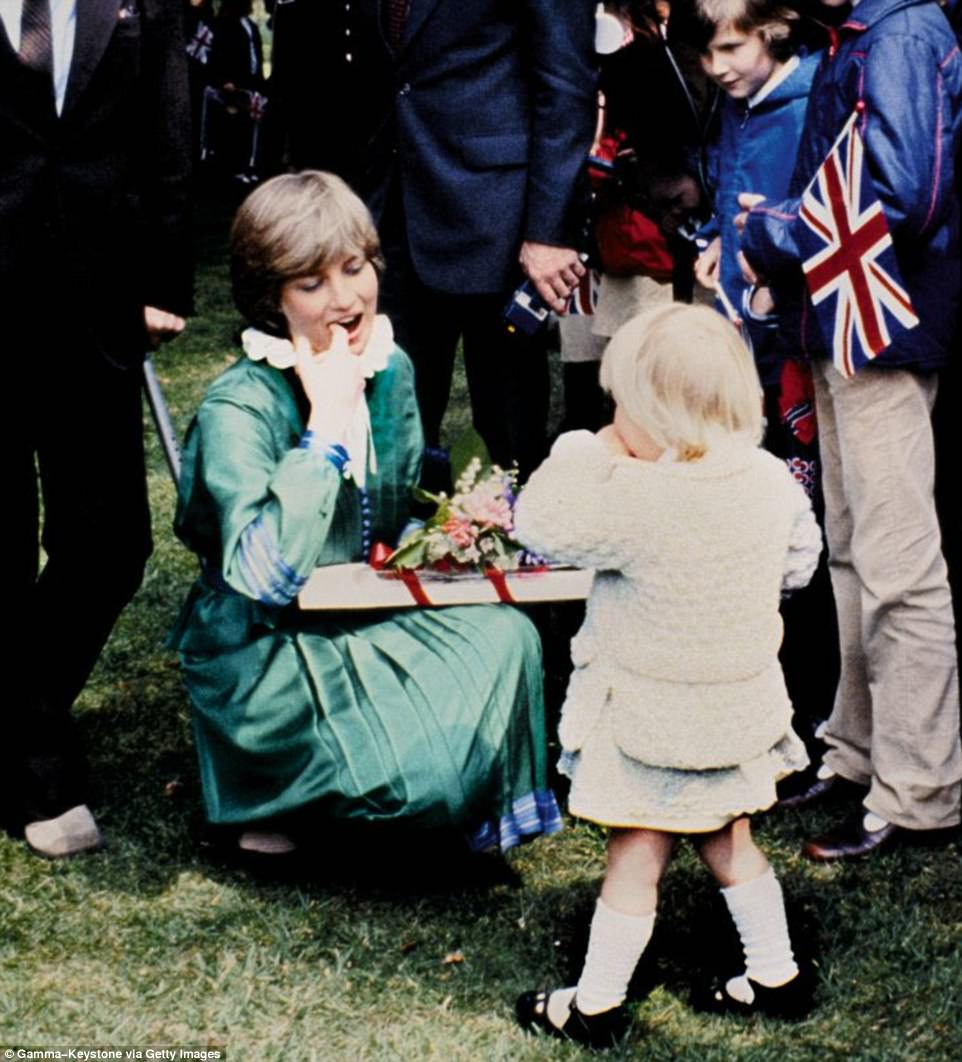 Two months before her wedding and already Diana is showing signs of her unique style, helping a young fan overcome her shyness during a visit to Broadlands in Hampshire
