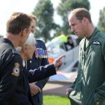 Veteran Ken Wilkinson jokingly telling off Prince William for flying choppers at RAF Coningsby in 2015 Image Anna Draper