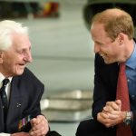 Veteran Ken Wilkinson shares a joke with Prince William at the 100th anniversary parade of 29 Reserve Squadron at RAF Coningsby in 2015 Image Anna Draper
