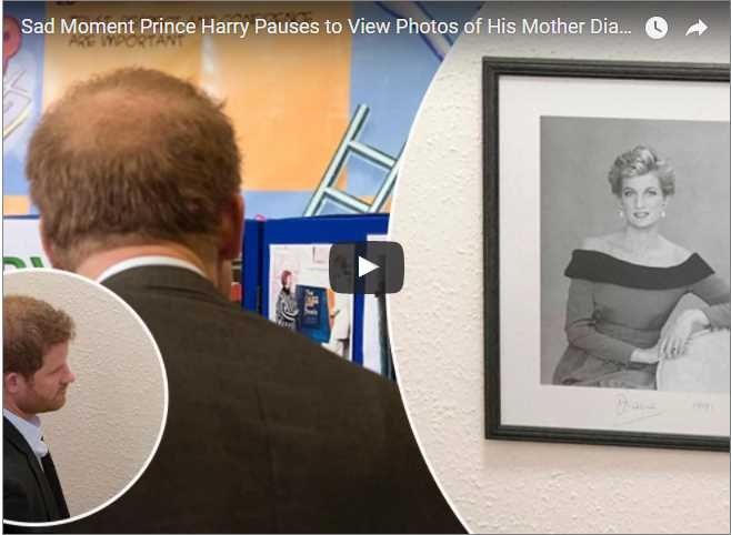 Watch Video Sad Moment Prince Harry Pauses to View Photos of His Mother Diana at Visit Aids Centre