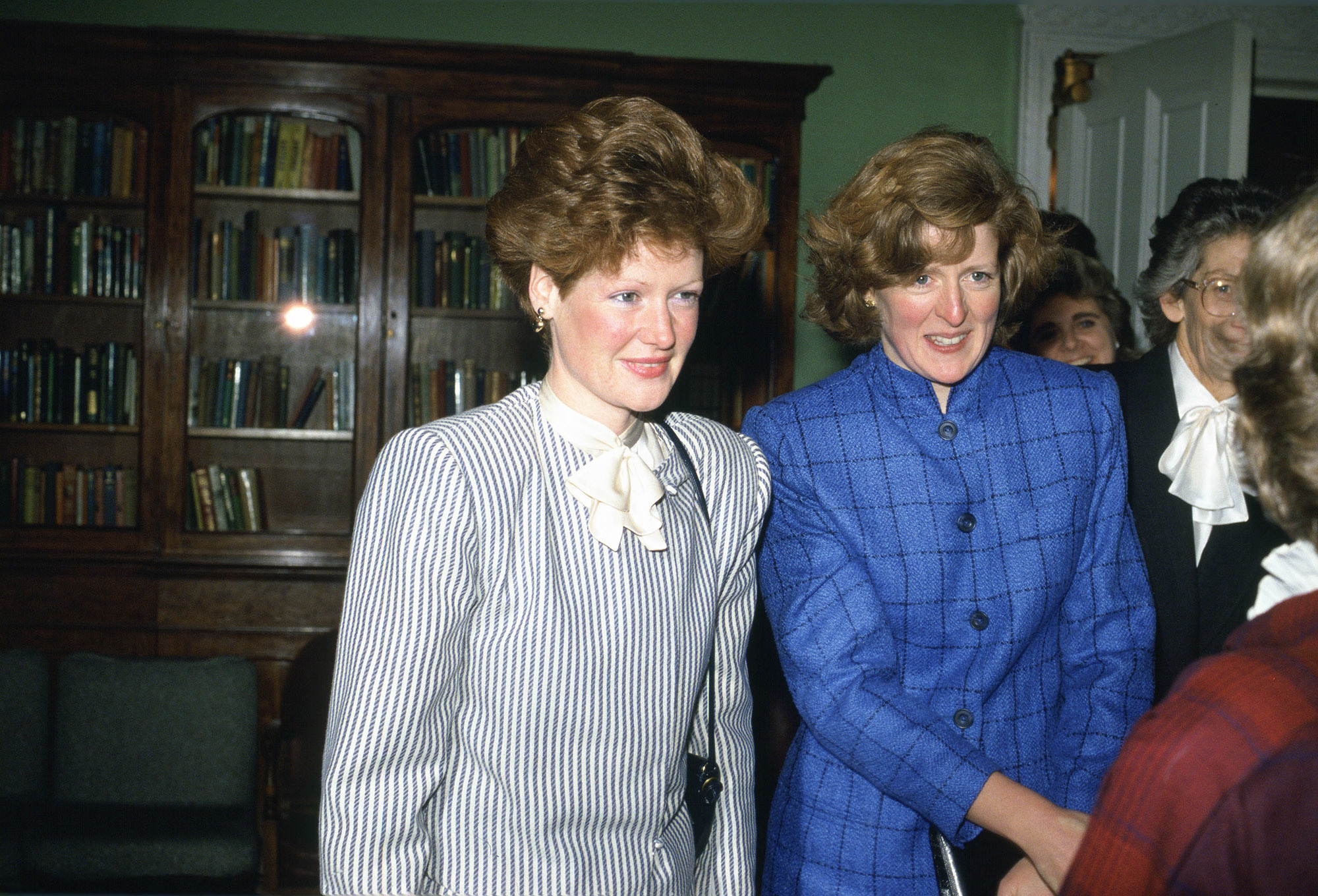 GREAT BRITAIN - NOVEMBER 12:  Lady Jane Fellows and Lady Sarah McCorquodale, Princess Diana's sisters, meeting the headmistress of West Heath School that they used to attend  (Photo by Tim Graham/Getty Images)