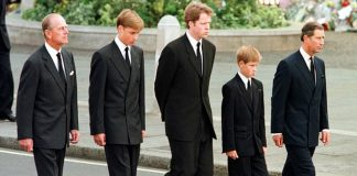 William and Harry walk behind Diana's coffin with Prince Philip, Prince Charles and Earl Spencer
