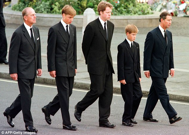 William and Harry walk behind Diana's coffin with Prince Philip Prince Charles and Earl Spencer