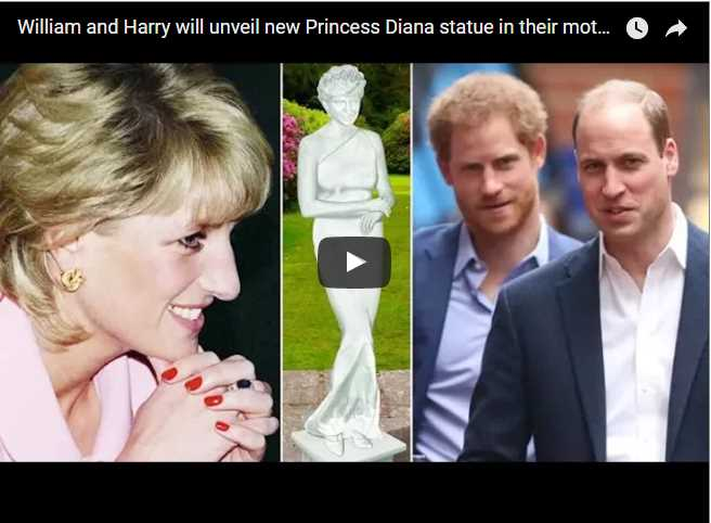 William and Harry will unveil new Princess Diana statue in their mothers former home