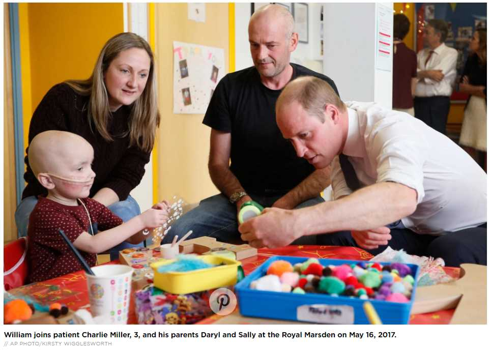 William joins patient Charlie Miller, 3, and his parents Daryl and Sally at the Royal Marsden on May 16, 2017