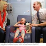 William meeting patient Daisy Wood 6 and her mother Katie at the Royal Marsden on May 16 2017.